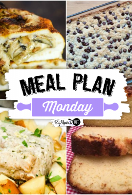 Welcome to this week's Meal Plan Monday 232! This week we're featuring Pound Cake with Sweetened Condensed Milk, Pork Loin & Potatoes, Oatmeal Breakfast Cake and Stuffed Mushroom Spiraled Chicken.