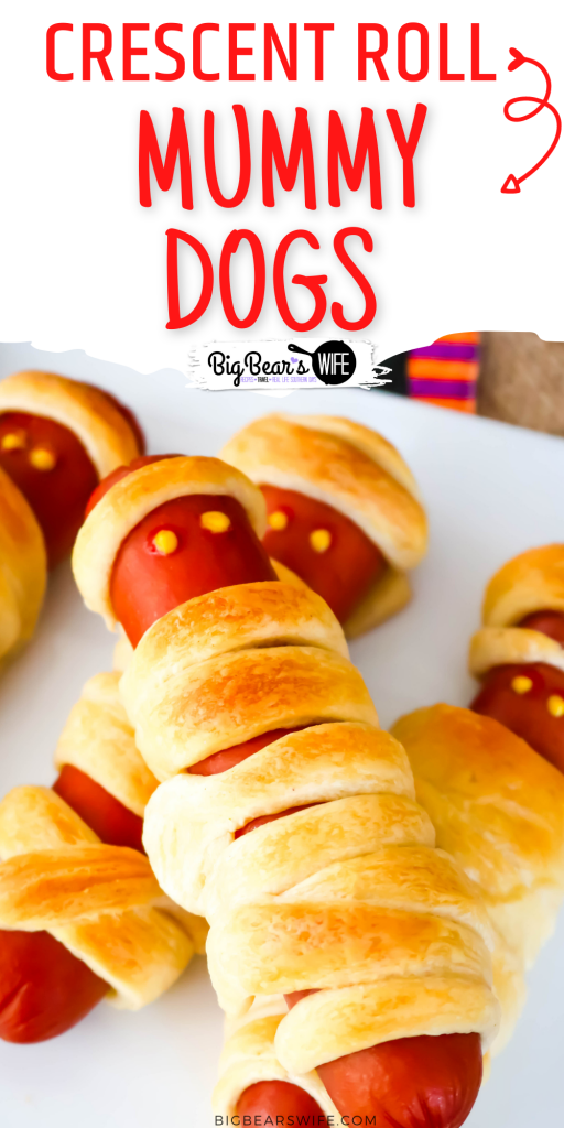 This Crescent Roll Mummy Dogs treat is a super easy savory Halloween treat! You'll need hot dogs and crescent rolls plus whatever you want to use as mummy hot dog eyes!