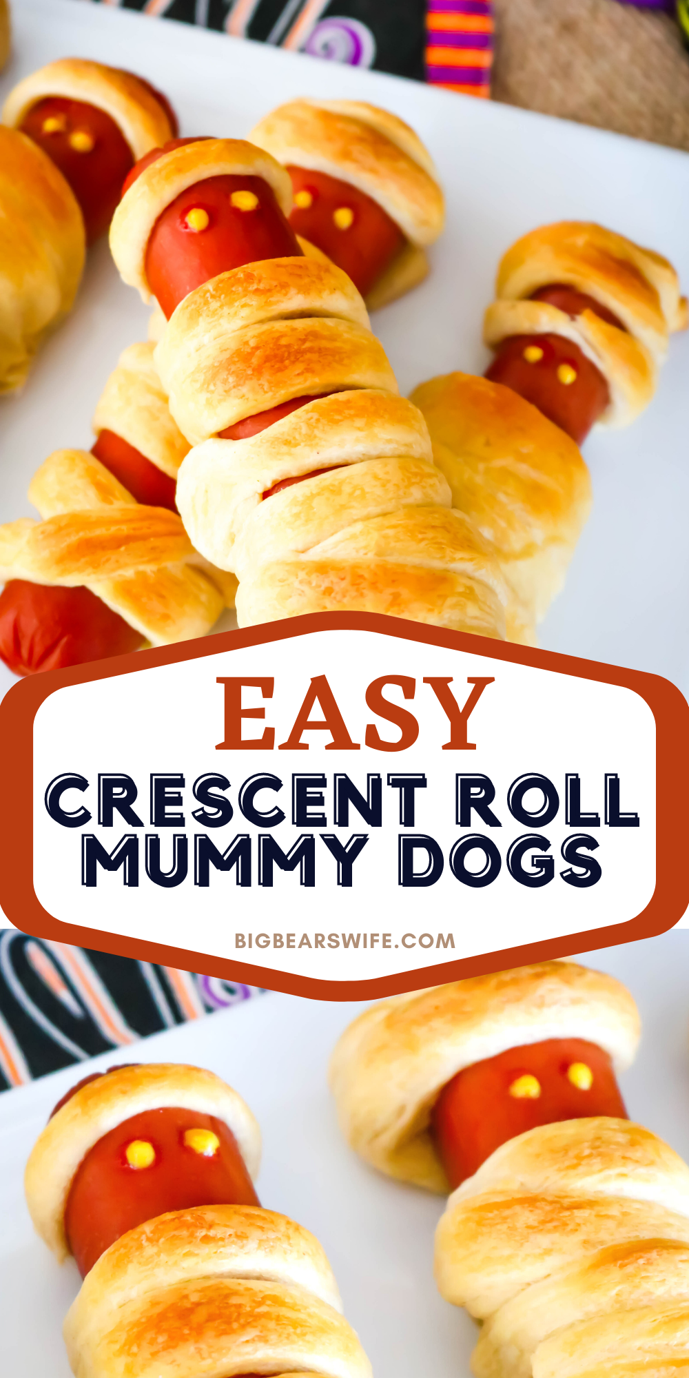 This Crescent Roll Mummy Dogs treat is a super easy savory Halloween treat! You'll need hot dogs and crescent rolls plus whatever you want to use as mummy hot dog eyes!  via @bigbearswife