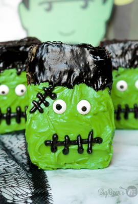 Frosted Frankenstein Brownies are perfect for boxed brownie or homemade brownies with my favorite brownie recipe. Use a bit of frosting and candy eyes to turn brownies into the cutest Halloween brownies.