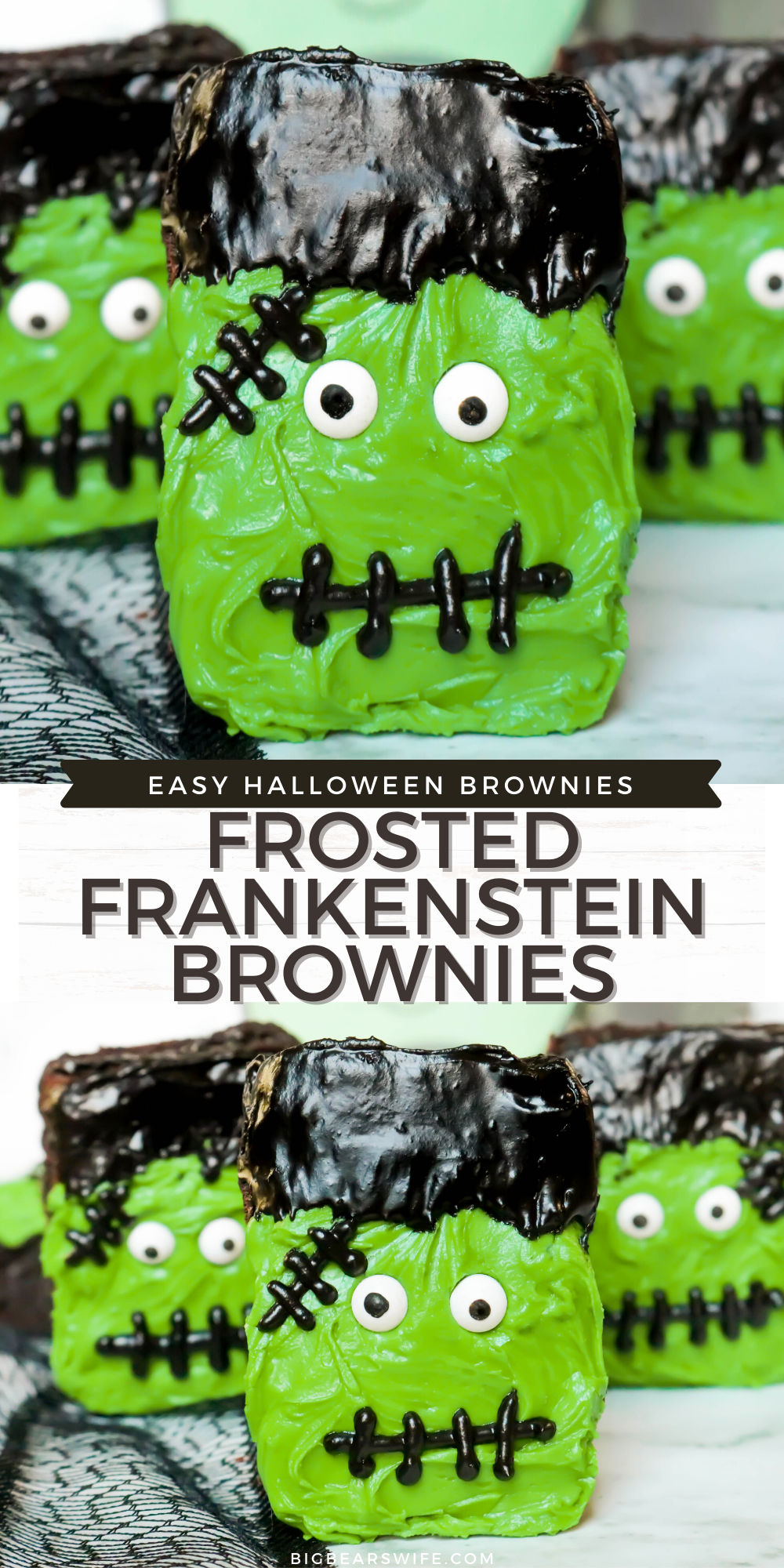 Frosted Frankenstein Brownies are perfect for boxed brownie or homemade brownies with my favorite brownie recipe. Use a bit of frosting and candy eyes to turn brownies into the cutest Halloween brownies. A great simple Halloween dessert recipe that is great for Halloween parties. Also a fun Halloween dessert to make with kids! Use store bought brownies for a quick last minute Halloween treat! via @bigbearswife