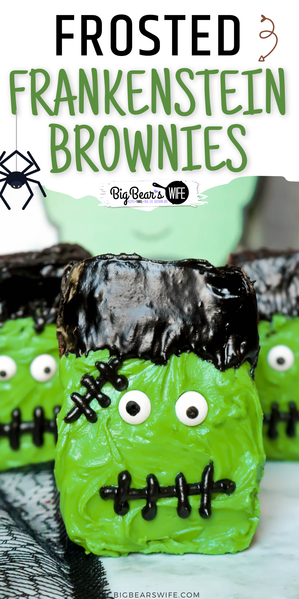 Frosted Frankenstein Brownies are perfect for boxed brownie or homemade brownies with my favorite brownie recipe. Use a bit of frosting and candy eyes to turn brownies into the cutest Halloween brownies.  via @bigbearswife