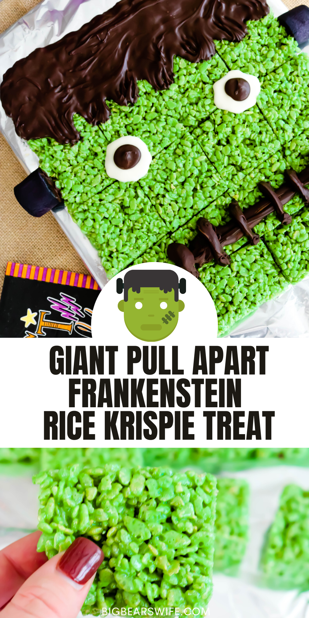 Need a fun Halloween Party dessert? This Giant Pull Apart Frankenstein Rice Krispie Treat is super easy to make and great for a group or Halloween dinner party! Just like my Frankenstein Rice Krispie Treats but on a larger scale for a crowd!
