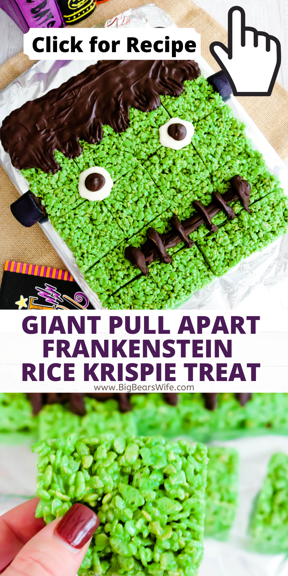 Need a fun Halloween Party dessert? This Giant Pull Apart Frankenstein Rice Krispie Treat is super easy to make and great for a group or Halloween dinner party! Just like my Frankenstein Rice Krispie Treats but on a larger scale for a crowd! via @bigbearswife