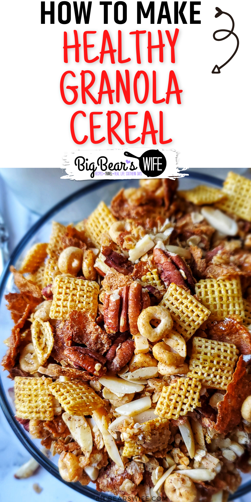 Looking for a Healthy Granola Cereal Recipe to have in the mornings or for a snack? This Healthy Granola Cereal is perfect for breakfast with milk and it's a great topping for yogurt!