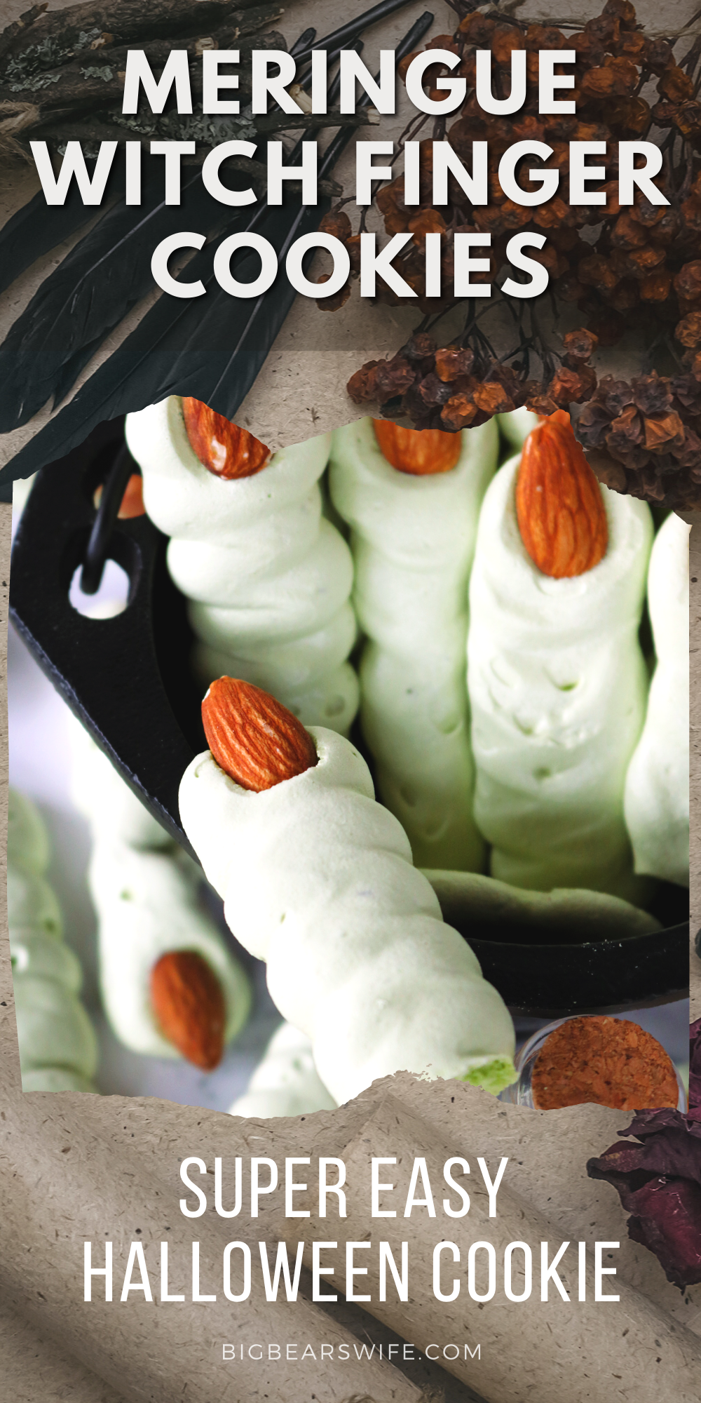 These easy Meringue Witch Finger Cookies are crispy, creepy and perfect for Halloween. These witch finger cookies are made with a meringue cookie recipe, colored green for of a bit of a classic witch look and decorated with an almond as the creepy witch nail! via @bigbearswife