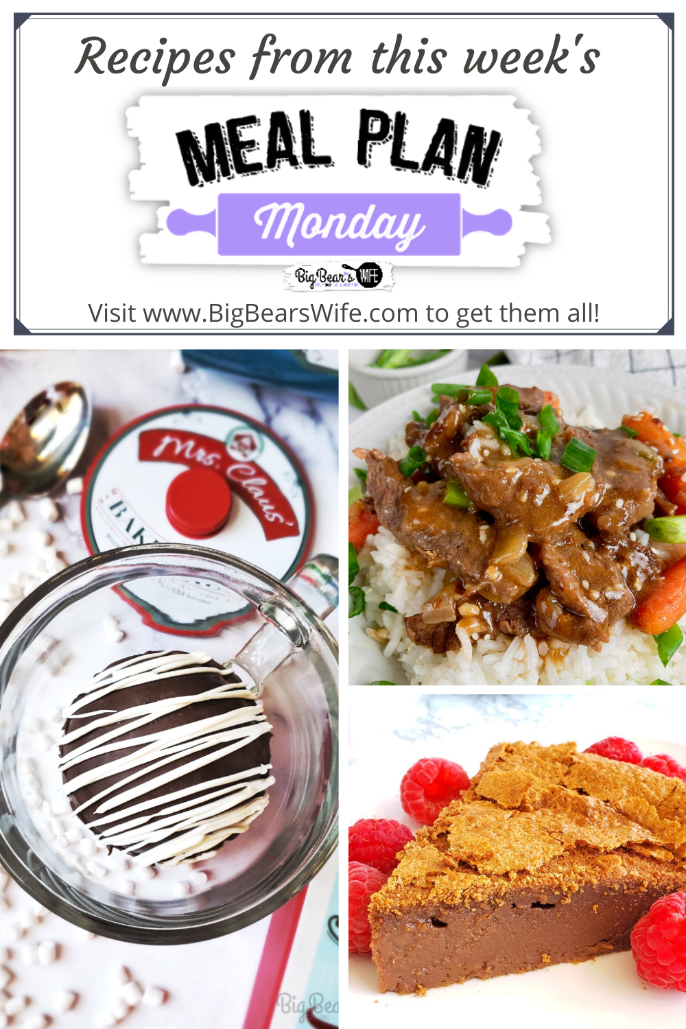 Meal Plan Monday 240! We're sharing recipes for Better than Takeout Easy Mongolian Beef, The Best CRAZY Cheap and Easy Tomato Soup Recipe, Chocolate Impossible Pie, Hot Chocolate Bombs and many more! via @bigbearswife
