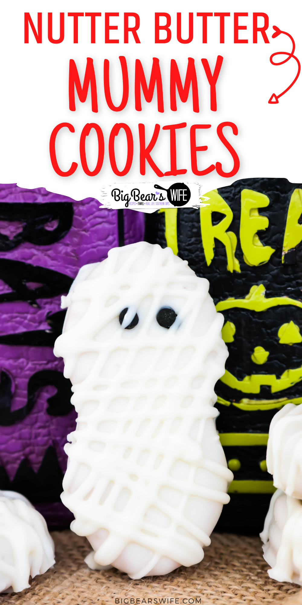 Nutter Butter cookies, white melting chocolate and small round black sprinkles make up these easy yummy, Nutter Butter Mummy Cookies!These Halloween cookies are easy to make with kids and a great Halloween treat for Halloween Parties!