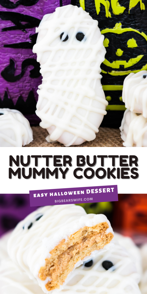 Nutter Butter cookies, white melting chocolate and small round black sprinkles make up these easy yummy, Nutter Butter Mummy Cookies!