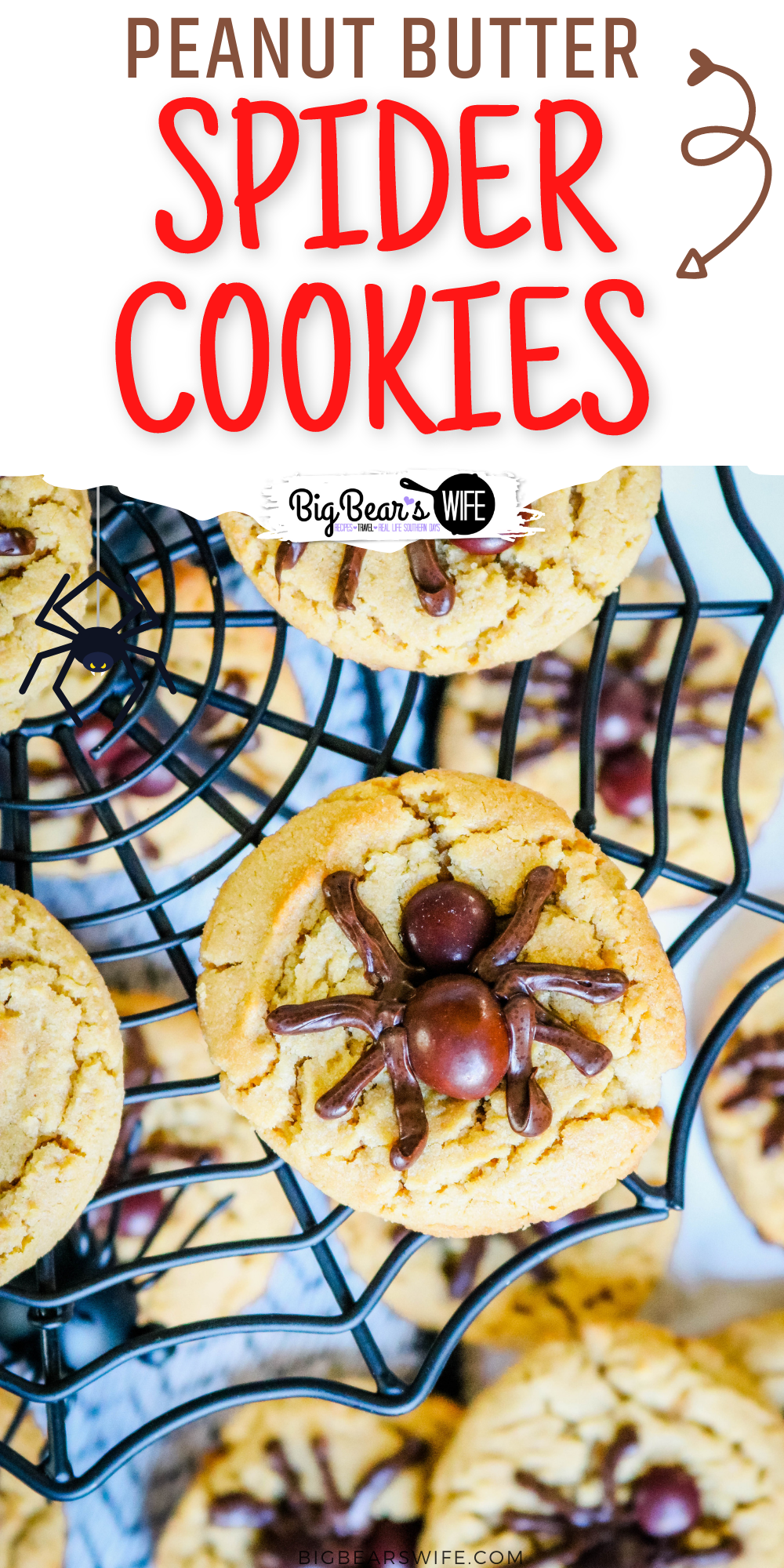 This Peanut Butter Spider Cookies recipe is an easy Halloween cookie recipe! These easy spider cookies are based on my favorite Peanut Butter Blossoms and the spiders are made with brown M&Ms and melted chocolate chips!  via @bigbearswife