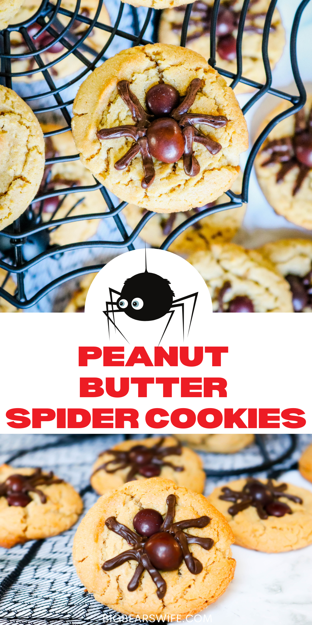 This Peanut Butter Spider Cookies recipe is an easy Halloween cookie recipe! These easy spider cookies are based on my favorite Peanut Butter Blossoms and the spiders are made with brown M&Ms and melted chocolate chips! If you need a cookie recipe for a Halloween Party Dessert or something fun to make with the kids for Halloween, these peanut butter spider cookies are perfect for both.  via @bigbearswife