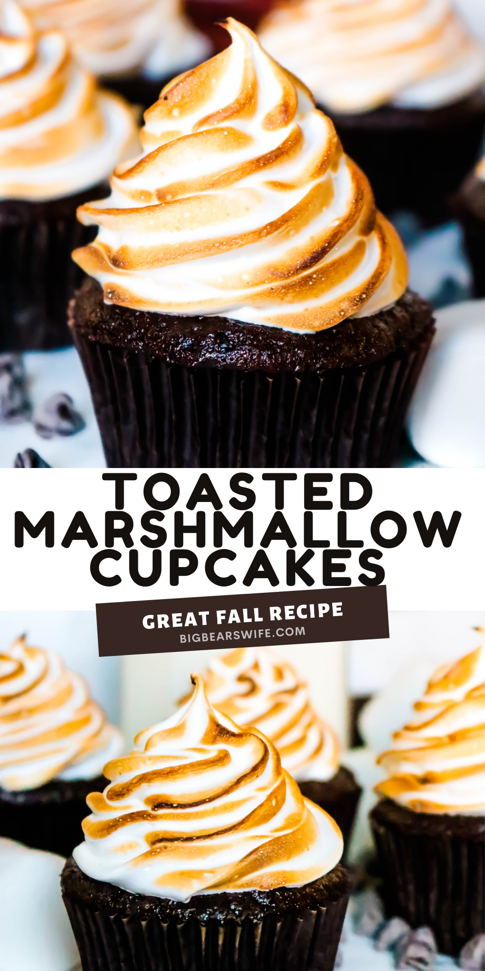 Toasted Marshmallow Cupcakes bring the taste of campfire marshmallows and homemade chocolate cupcakes together in this tasty and easy dessert recipes.  via @bigbearswife