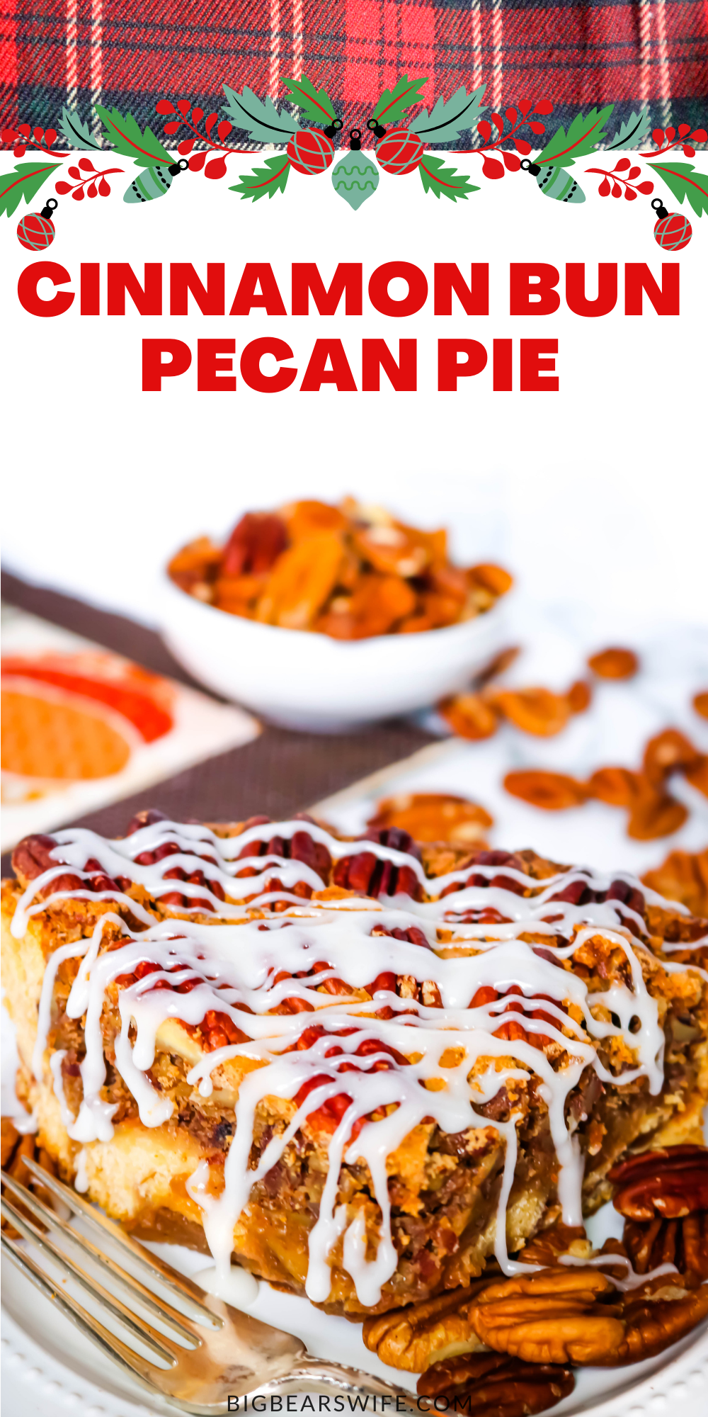 This Cinnamon Bun Pecan Pie has a cinnamon bun pie crust and an amazing and easy homemade pecan pie filling! Drizzle it with cream cheese frosting and you've got the perfect marriage of cinnamon buns and pecan pie! via @bigbearswife