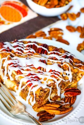 This Cinnamon Bun Pecan Pie has a cinnamon bun pie crust and an amazing and easy homemade pecan pie filling! Drizzle it with cream cheese frosting and you've got the perfect marriage of cinnamon buns and pecan pie!