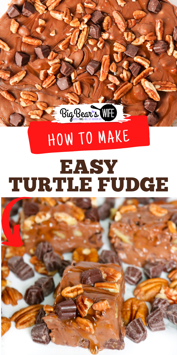 This Super Easy Turtle Fudge is a great dessert or a perfect homemade gift to make for a friend or family member! Super since to make and always delicious. This fudge is filled with chocolate, caramel and pecans!  via @bigbearswife
