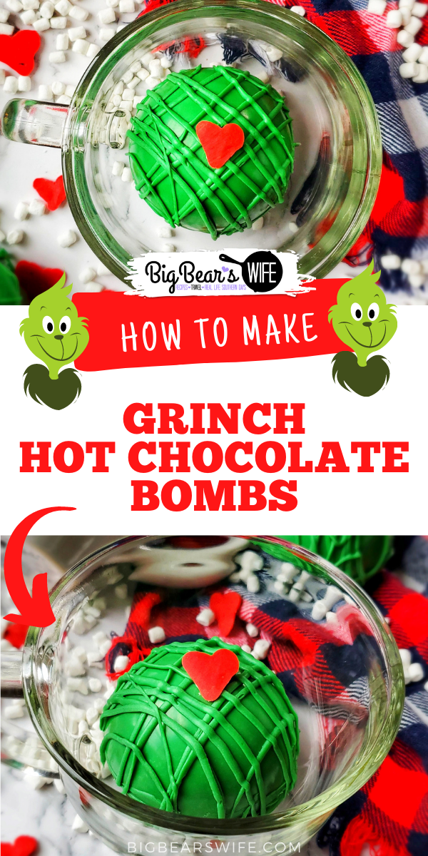 Our favorite Christmas hot coco bombs are getting a Grinchy Whoville makeover with these fun Christmas Grinch Hot Chocolate Bombs!! via @bigbearswife