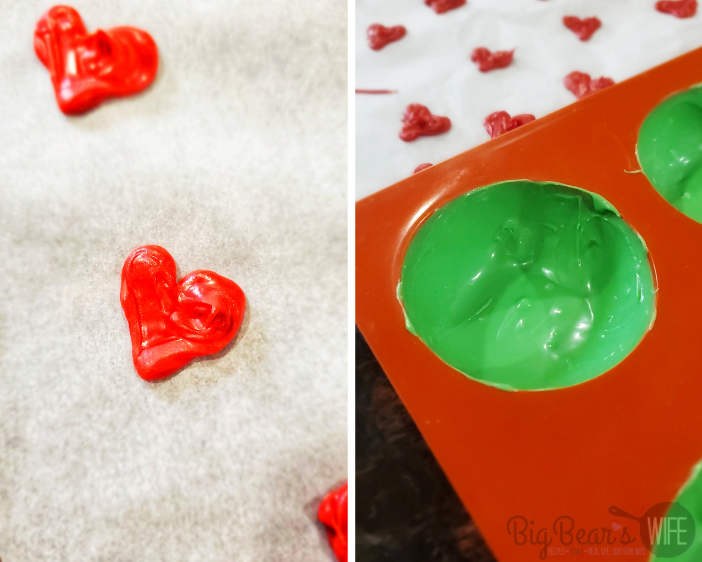 candy heart and green candy shell