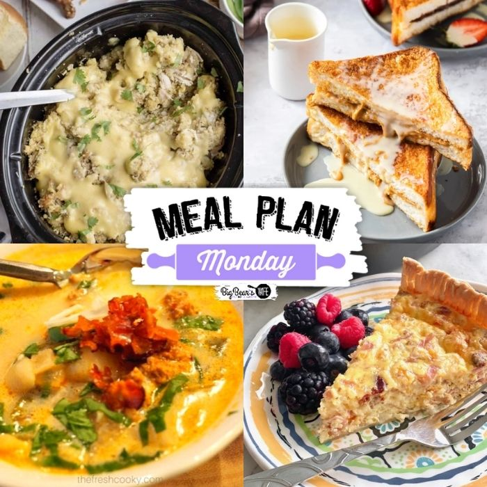 Hey Y'all welcome back to Meal Plan Monday where you receive recipes chosen from bloggers all around the world! This week we have a delicioussoup, a hearty quiche, a to die for peanut butter French toast, and a Southern Plate favorite for your Thanksgiving Planning.