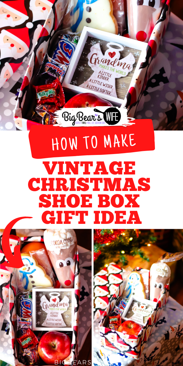 Want to bring back a sweet vintage Christmas tradition? Try this sweet Vintage Christmas Shoe Box Gift Idea! Fill it with candies, cookies and little gifts for a special person in your life! via @bigbearswife