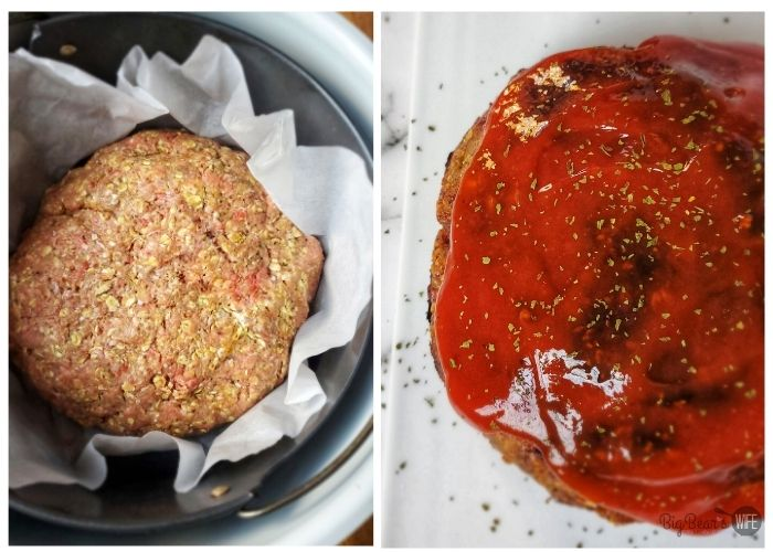 Meatloaf mixture in airfryer