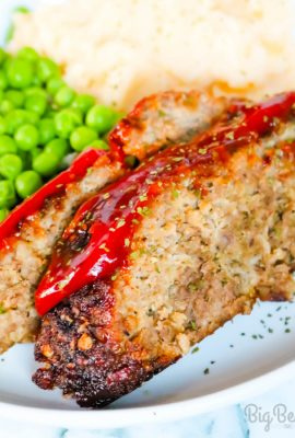 This easy Air Fryer Meatloaf is made with ground beef and ground turkey along with some great seasonings. It takes less than 45 minutes to cook and it is absolutely delicious.