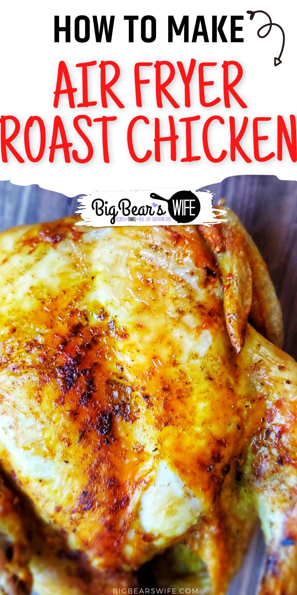 Have you cooked a whole chicken in the air fryer? If not, you need too! Air Fryer Roast Chicken is so easy and taste almost like a rotisserie chicken! via @bigbearswife