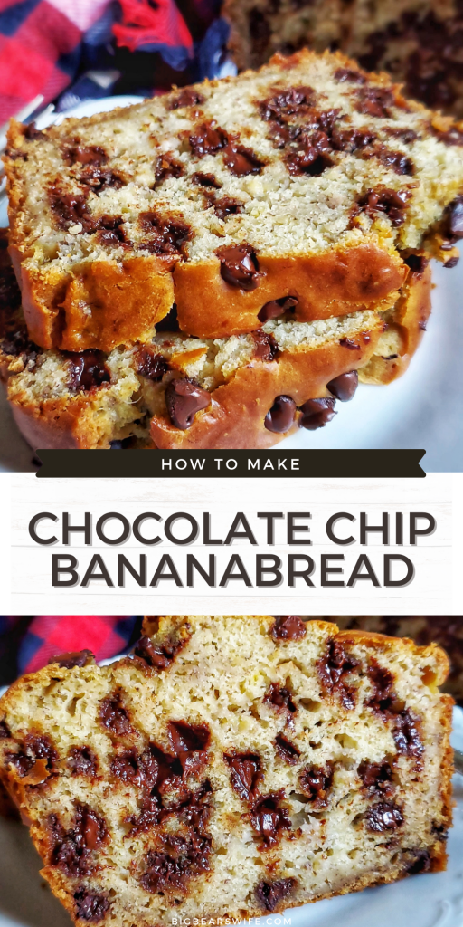 Love Banana Bread? This Chocolate Chip Banana Bread is a delicious homemade banana bread recipe that is packed with 2 cups of chocolate chips! Amazing for breakfast, dessert or a snack!