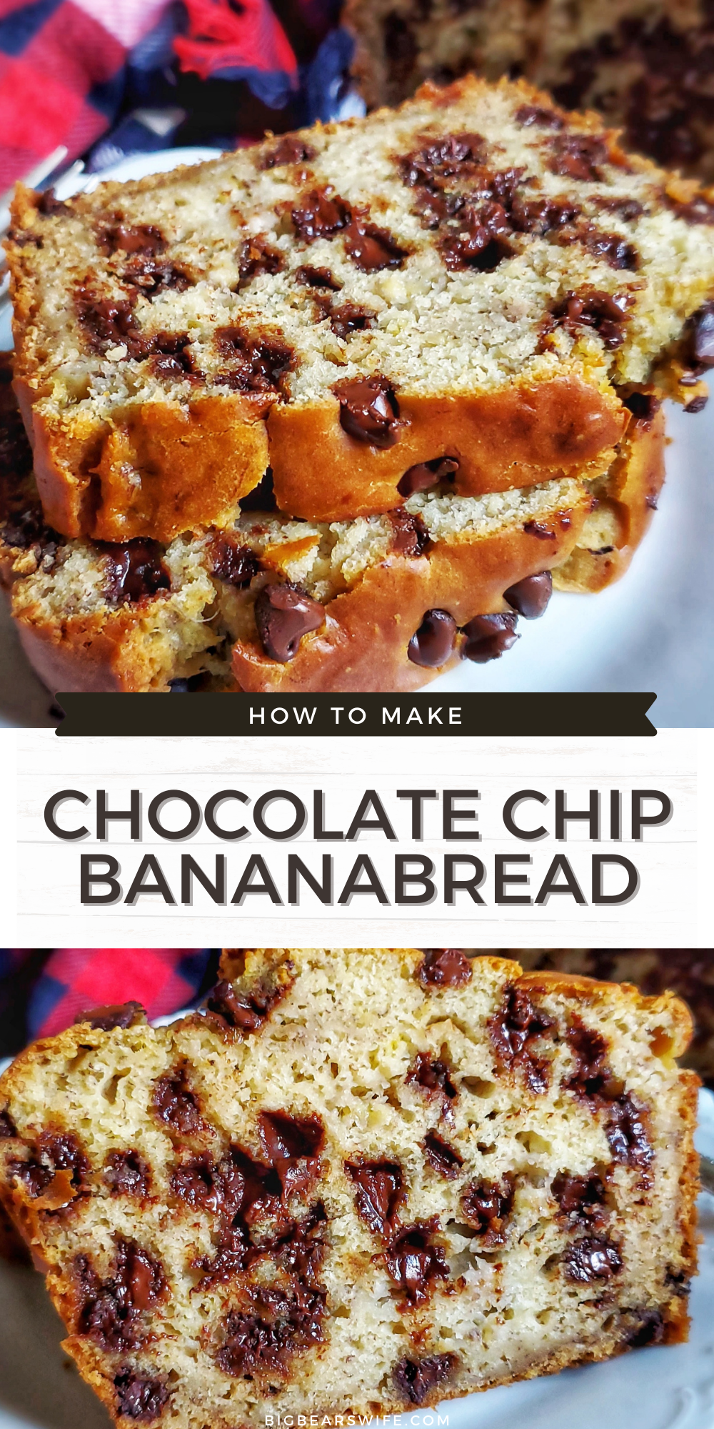 Love Banana Bread? This Chocolate Chip Banana Bread is a delicious homemade banana bread recipe that is packed with 2 cups of chocolate chips! Amazing for breakfast, dessert or a snack!  via @bigbearswife