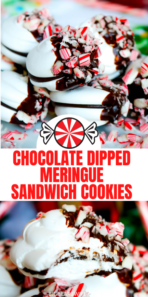 These Chocolate-Dipped Meringue Sandwich Cookies are just right for a holiday gathering and great to give as a homemade gift from the kitchen. Easy meringue sandwich cookies are filled with a chocolate ganache, dipped in chocolate and sprinkled with crushed candy canes for the ideal festive treat!