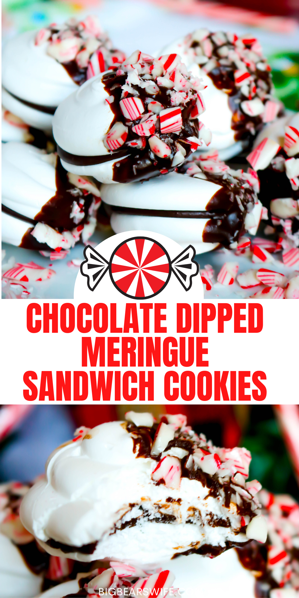 These Chocolate-Dipped Meringue Sandwich Cookies are just right for a holiday gathering and great to give as a homemade gift from the kitchen. Easy meringue sandwich cookies are filled with a chocolate ganache, dipped in chocolate and sprinkled with crushed candy canes for the ideal festive treat! via @bigbearswife