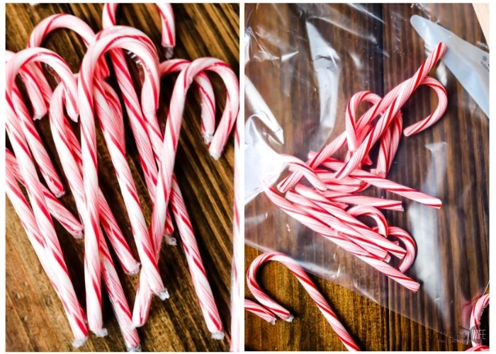 Candy canes and candy canes in a plastic bag
