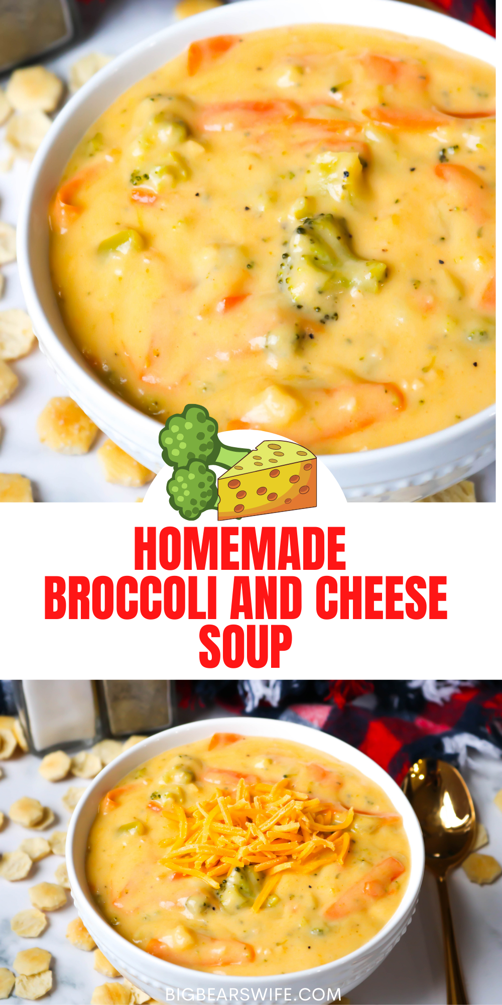 This Homemade Broccoli and Cheese Soup that is packed with broccoli, carrots, garlic and cheese is one of the best broccoli cheese soups I've made at home! It is so easy and so good! via @bigbearswife