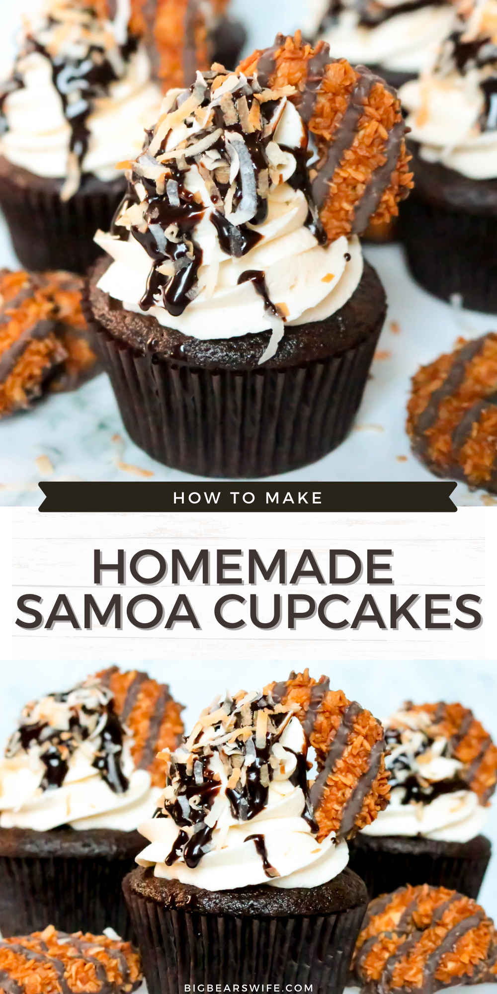 Turn your favorite Samoa cookie Girl Scout cookies into a homemade treat with these Samoa Cupcakes! These chocolate cupcakes have a caramel frosting and are topped with chocolate, toasted coconut and Samoa Cookies!    via @bigbearswife