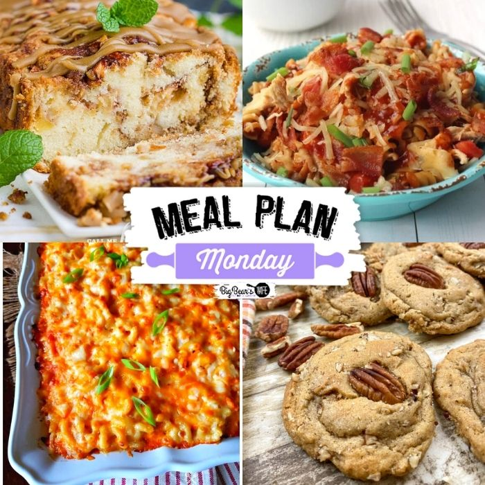Welcome to Meal Plan Monday 244! This week we're featuring Amish Apple Bread, Skillet Monterey Chicken with Pasta, Butter Pecan Shortbread Cookies and Southern Baked Macaroni and Cheese!