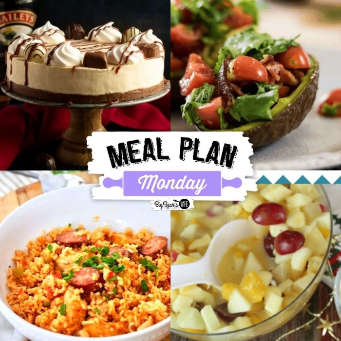 Welcome to Meal Plan Monday #246! We're sharing recipes for Baked BLT Avocado, Instant Pot Chicken and Sausage Jambalaya, No Bake Bailey's Cheesecake, Holiday Fruit Salad and more!
