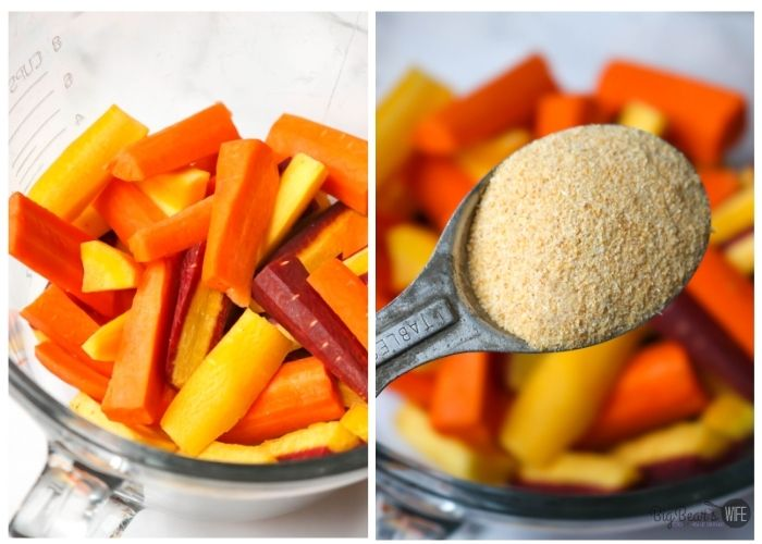 rainbow carrot slices and garlic power
