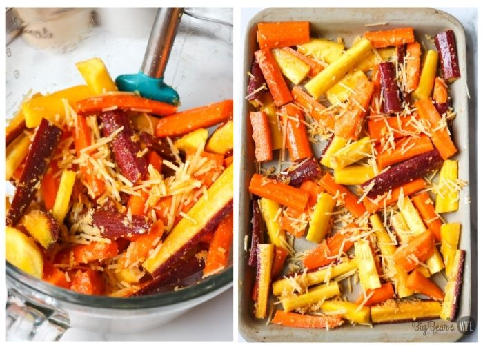 Rainbow carrots in sliced in bowl and on baking sheet with cheese