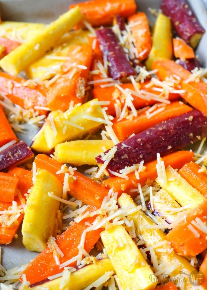 rainbow carrots with cheese - Parmesan Garlic Roasted Carrots