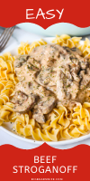 This super easy Beef Stroganoff is cooked with stripes of beef and lots of mushrooms is a delicious, creamy Stroganoff sauce. Perfect when served over egg noodles, rice or mashed potatoes.  via @bigbearswife