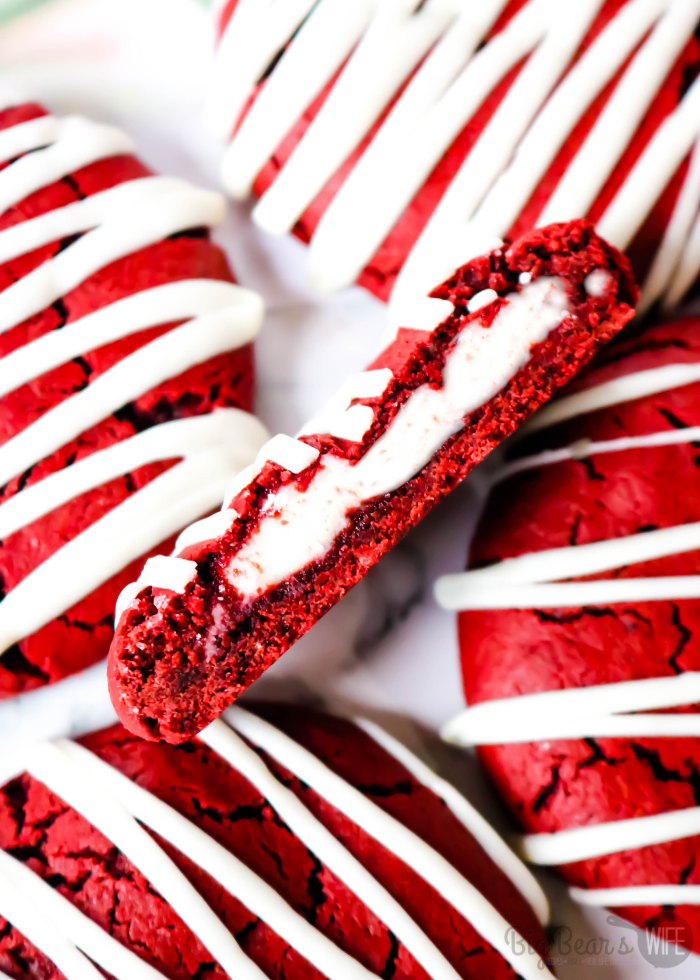 Inside of Red Velvet Stuffed Cookies