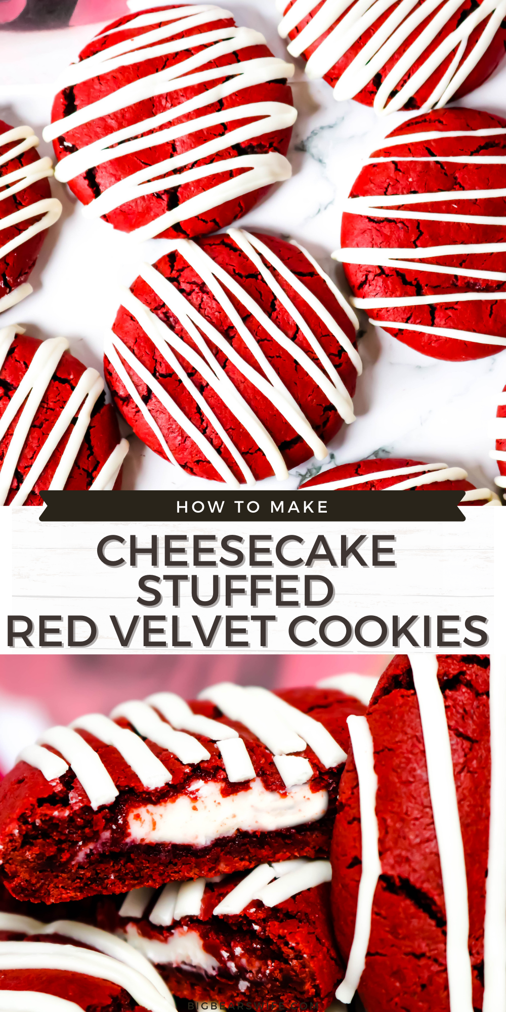 These homemade Cheesecake Stuffed Red Velvet Cookies have a red velvet cake tang and are stuffed with an easy cheesecake filling! Plus they're drizzled with melted white chocolate! via @bigbearswife