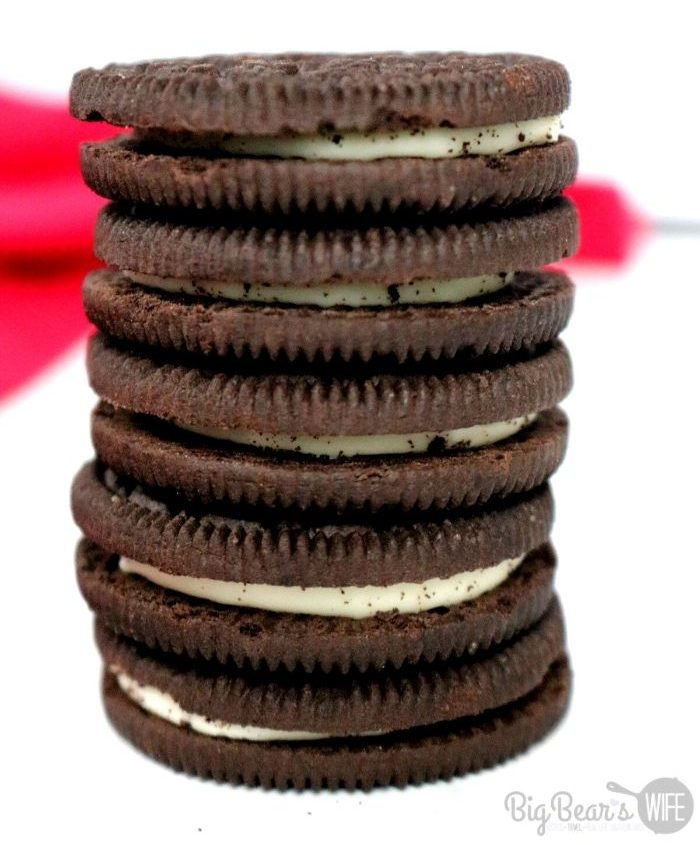 OREO chocolate cookies in a stack with a white background