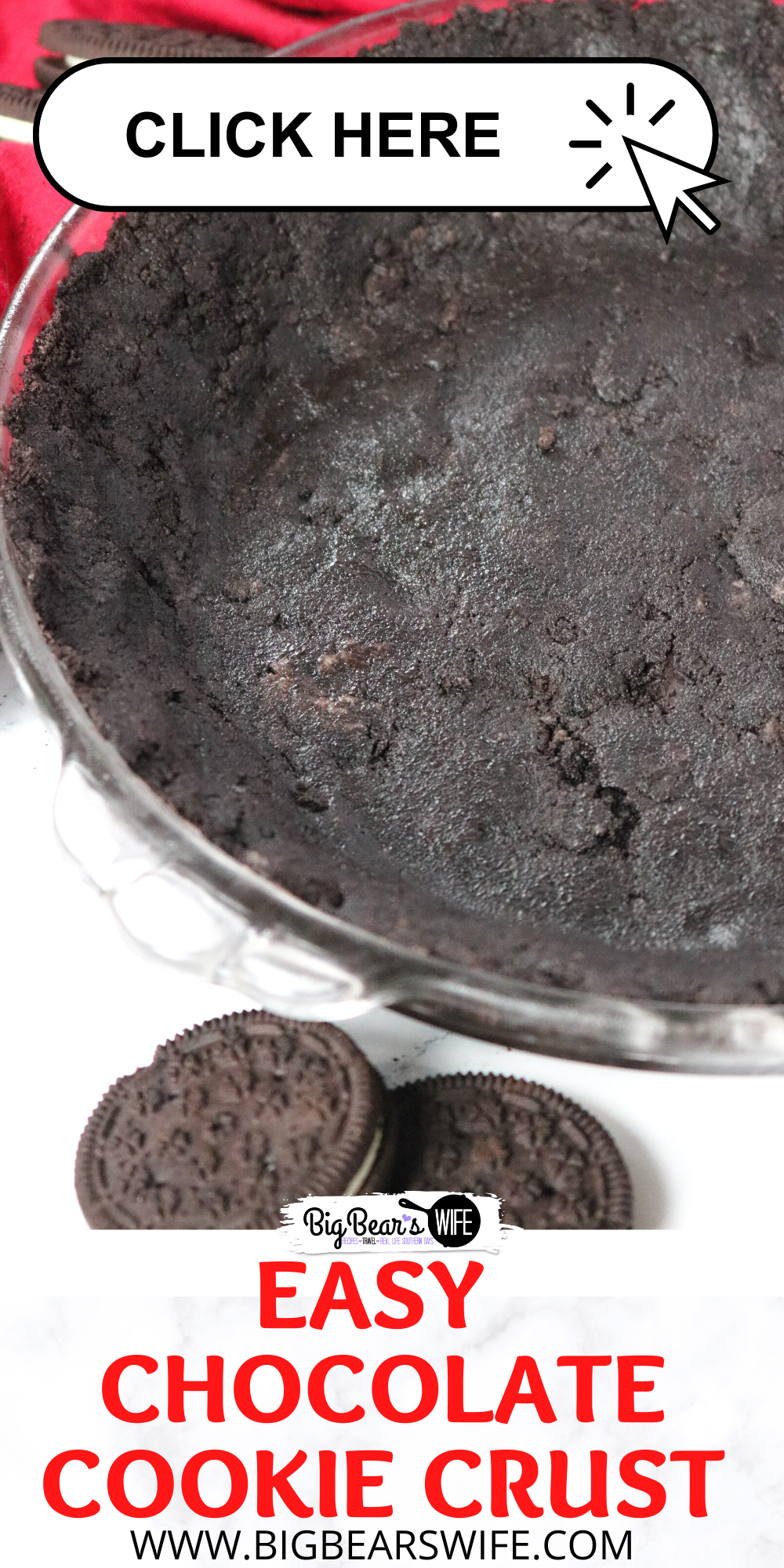 Two ingredients is all it takes to create this Easy Chocolate Cookie Crust at home! Perfect for Bake or No Bake Pie Options! This Oreo cookie crust is so delicious and easy to make! Easy Chocolate Cookie Crust - Bake or No Bake Options via @bigbearswife