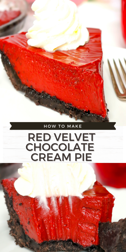 Dive into the classic flavor of red velvet with this homemade Red Velvet Chocolate Cream Pie! This pie has the tangy of red velvet, the silkiness of chocolate pie and a homemade chocolate cookie crust!