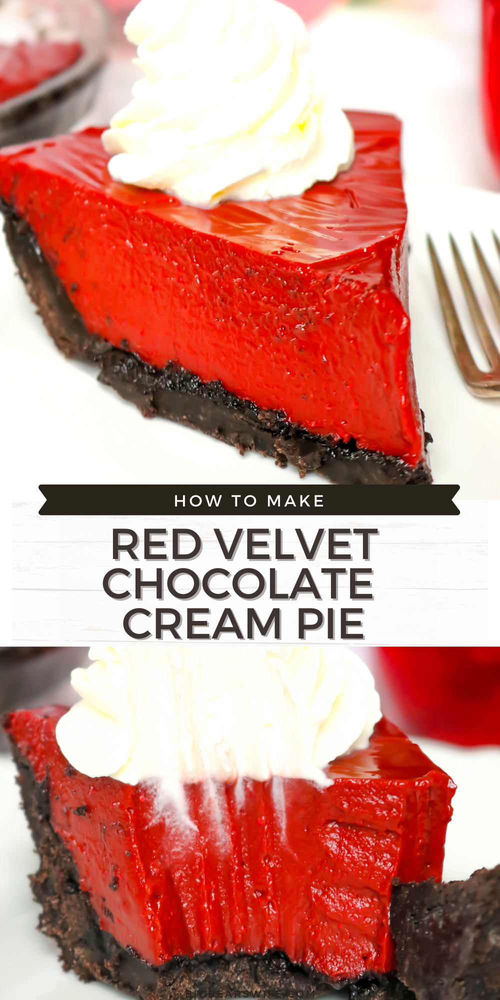 Dive into the classic flavor of red velvet with this homemade Red Velvet Chocolate Cream Pie! This pie has the tangy of red velvet, the silkiness of chocolate pie and a homemade chocolate cookie crust! via @bigbearswife