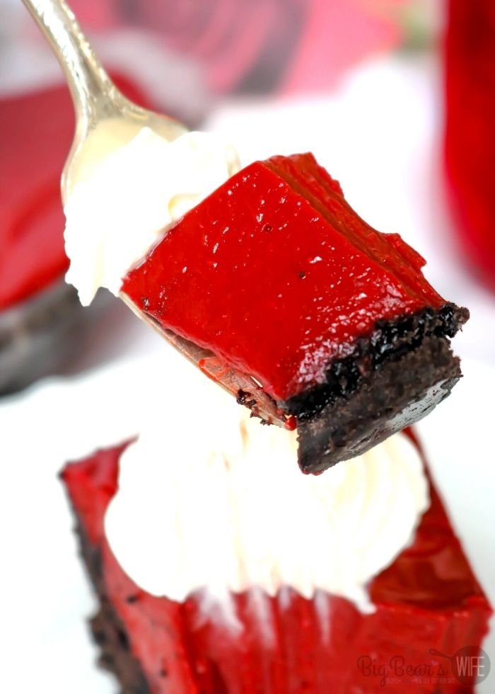 a bite of red velvet pie