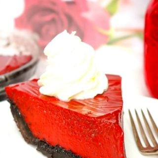 A Slice of Red Velvet Chocolate Pie on a white plate