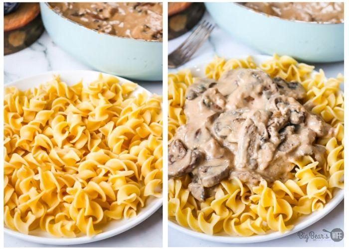 plating BEEF STROGANOFF over egg noodles