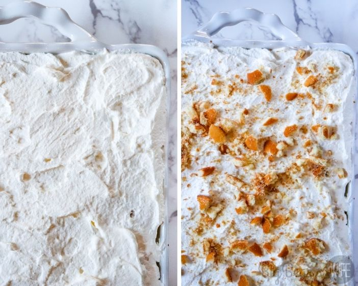 Banana Cream Pie Poke Cake with frosting and crushed vanilla waferes