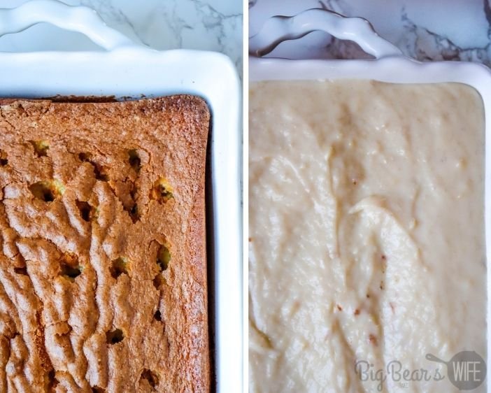 Banana Cream Pie Poke Cake with poked holes and pudding layer